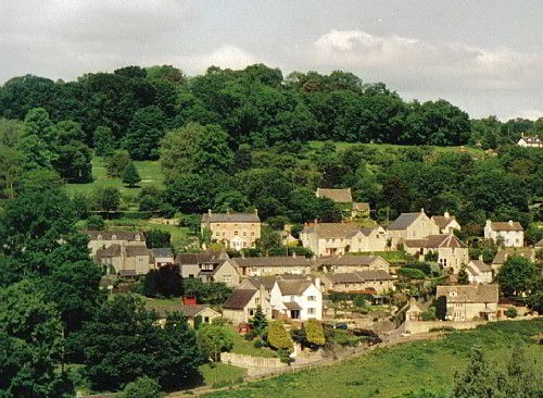 Woodchester from across the valley