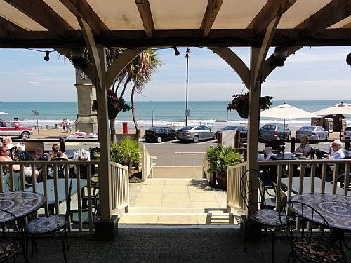 The Waterfront Inn - the view over the beach towards the English Channel