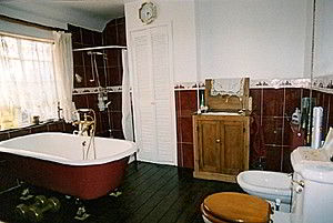 Family bathroom with freestanding cast iron bath and shower