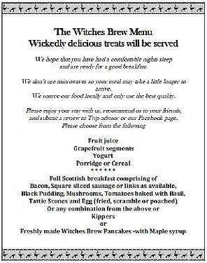 The Witches Brew Breakfast Menu at Cnoc Beag