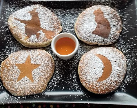 The Witches Brew freshly made Pancakes with Maple Syrup at Cnoc Beag