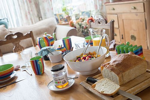 Delicious breakfasts, bread, fruit, our own eggs and local bacon and sausages