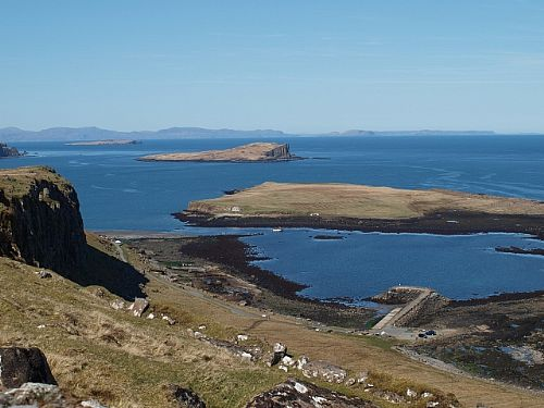 Local walk with view of harbour, Staffin Island, Flodigarry Island and the Outer Hebrides
