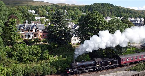 Jacobite Steam Train and the house in the background